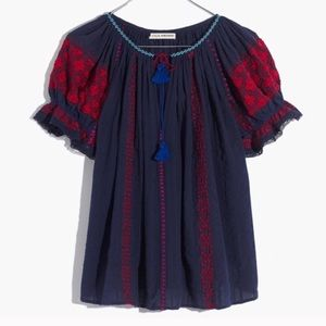 Ulla Johnson Embroidered Top Navy size 4